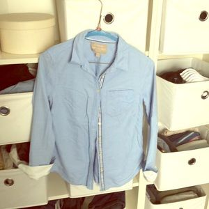 Long sleeve button up with fold up white cuffs